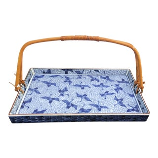 Vintage Bamboo Handle China Crane Tray For Sale
