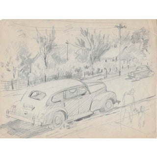 1940s New Jersey Street Scene Drawing by Henry Gasser For Sale