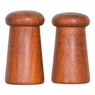 Mid Century Modern Salt Pepper Shaker Mushroom Design Teak Wood - a Pair For Sale