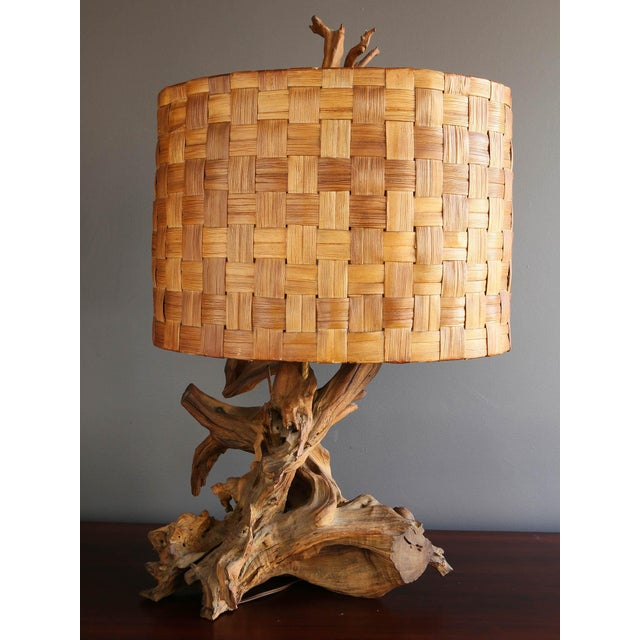 Driftwood Table Lamp with Woven Shade - Image 4 of 7