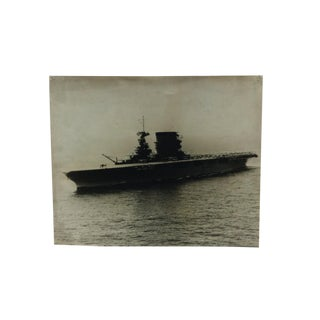 "Vintage Black & White Photograph, ""Aircraft Carrier With Bi-Planes"", Circa 1920 For Sale"