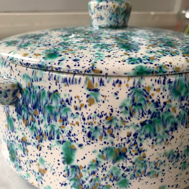 Mid-Century Modern Vintage Blue and Green Speckled Pottery For Sale - Image 3 of 7