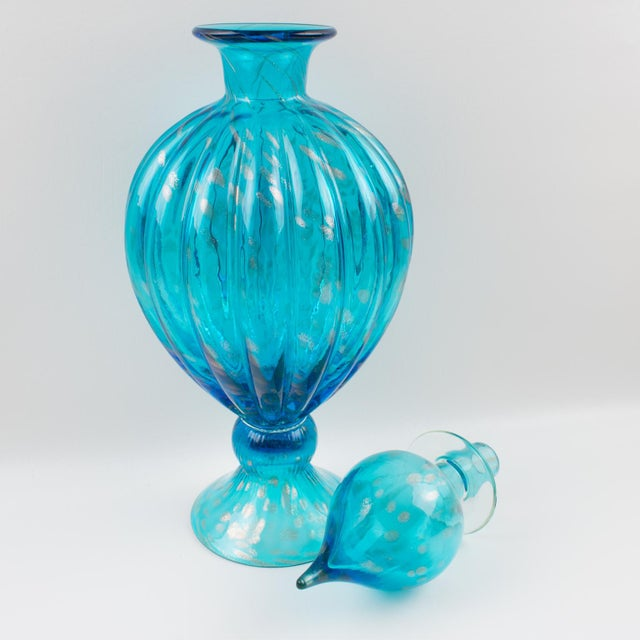 Italian Empoli Hand Blown Turquoise Glass Lidded Apothecary Jar Dispenser For Sale - Image 12 of 13