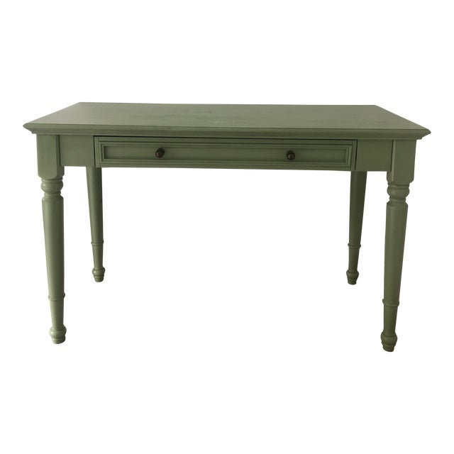 Shabby Chic Pottery Barn Green Wooden Writing Desk For Sale