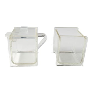 Vintage Set of Lucite Sugar and Creamer For Sale
