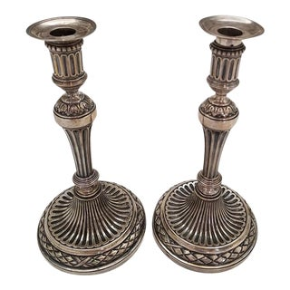 Early 19c Russian Sterling Silver Candlesticks- A Pair For Sale