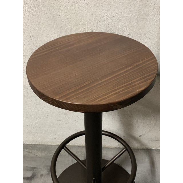 French New Round Folding Bistro Table With Wood Top & Iron Base For Sale - Image 3 of 7