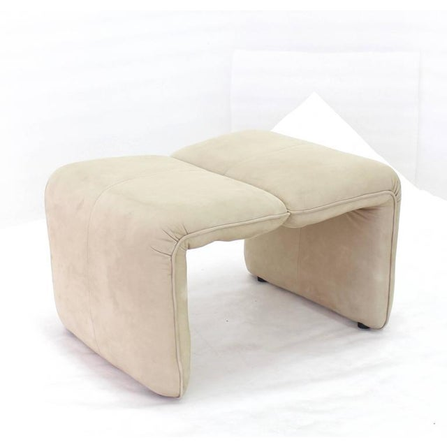 Leather Beige Suede Leather Lounge Chair with Matching Ottoman For Sale - Image 7 of 10