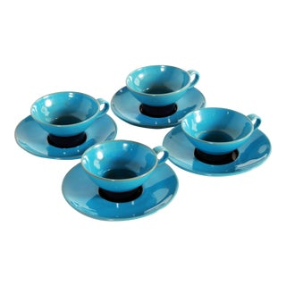 Blue Mid Century Danish Modern Bjorn Wiinblad Pottery Tea Cups & Saucers - Set of 4 For Sale