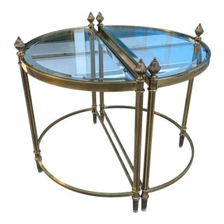 French Mid-Century Modern Jansen Style Maison Baguès Brass & Glass Side Tables - a Pair For Sale