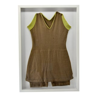 Antique Wool Swim Bathing Suit in Shadow Box Frame For Sale
