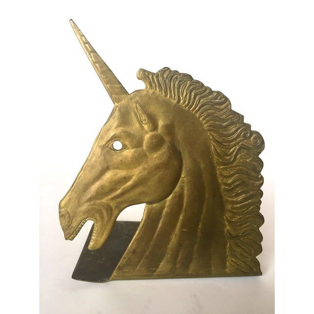 Vintage Brass Unicorn Bookend - Image 2 of 5