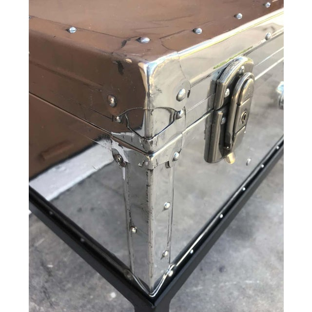 Japanese Post War Aluminum Riveted Trunk on Iron Stand With Glass Top, Restored For Sale In Atlanta - Image 6 of 12
