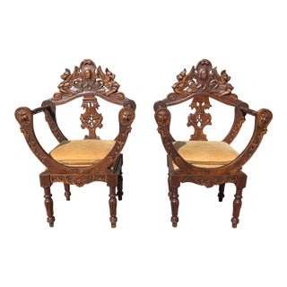 1900s Antique French Renaissance Solid Walnut Accent Chairs - a Pair For Sale