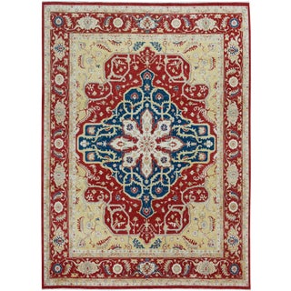 Geometric Kafkaz Peshawar Rubi Rust/Blue Hand-Knotted Rug - 12'2 X 15'3 For Sale