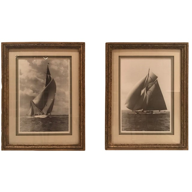 """Framed and Double Shadow Mount Matted """"Candida"""" Black & White Prints From 1923 & The """"Velsheda"""" From 1943 - a Pair For Sale"""