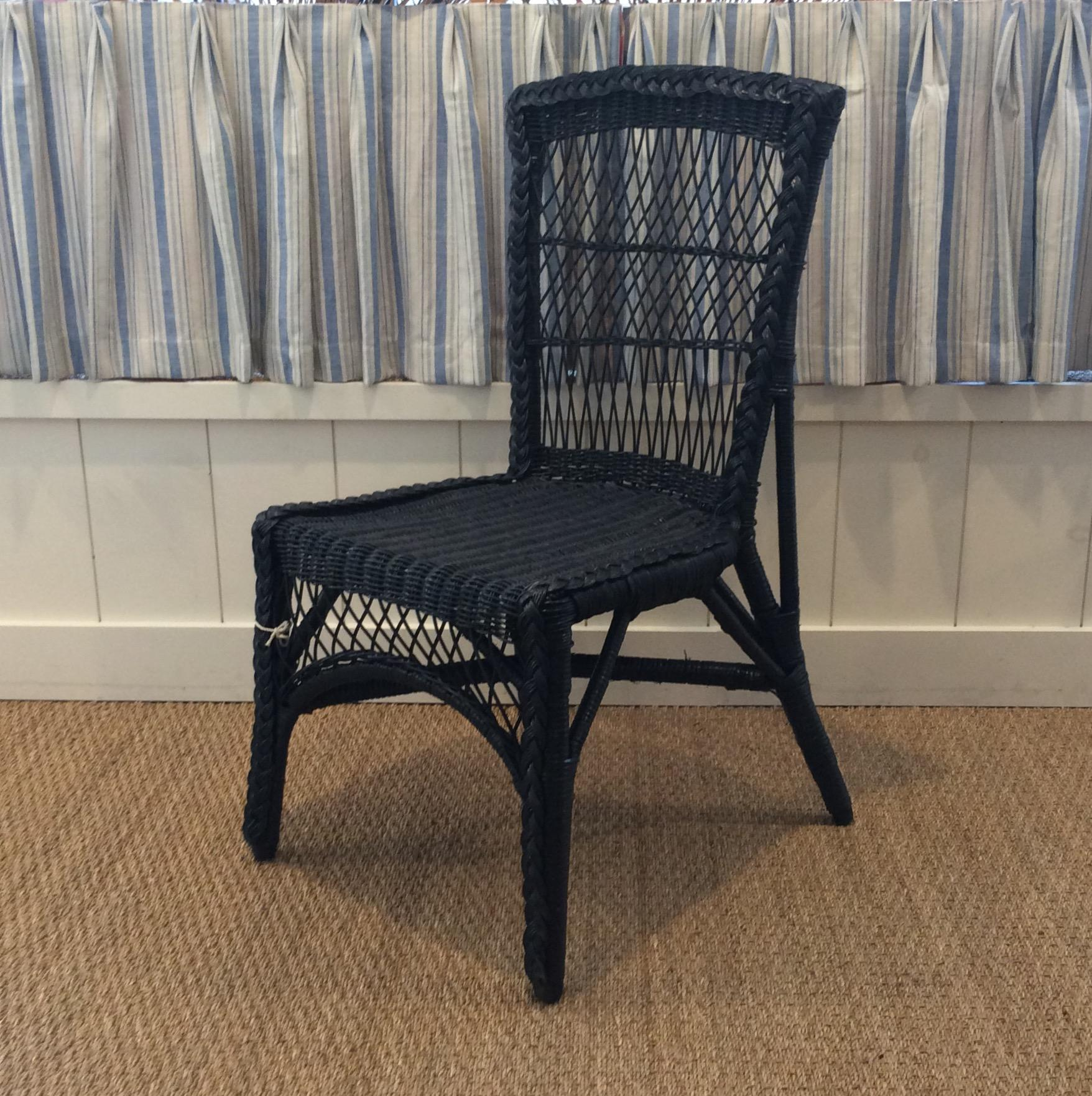 Charming Wicker Chair Painted Blue. Use In A Sunroom As An Occasional Chair  Or In