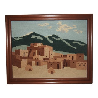 Vintage Taos New Mexico Needlepoint Wall Art For Sale