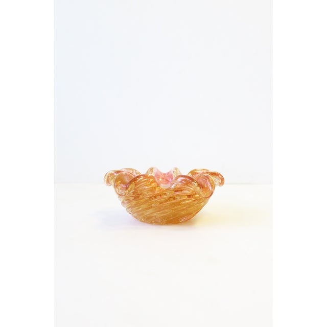 Italian Murano Gold and Pink Art Glass Bowl For Sale - Image 10 of 12