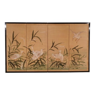 Mid Century Japanese Byobu Four Panel Screen W/ Egrets For Sale