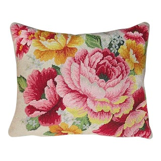 Floral Needlepoint Pillow For Sale