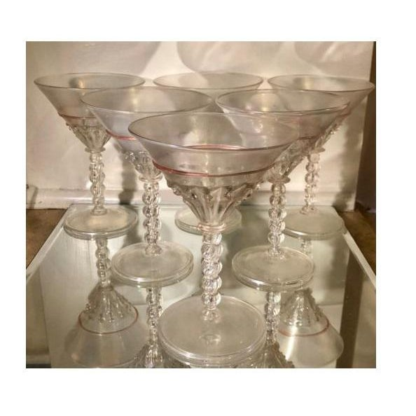 Salviati Antique Venetian Glass Wine Champagne Stems W Pink Trim For Sale - Image 4 of 4