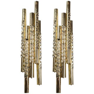 Gallery Glustin French Mid-Century Modern Style Brass Wall Sconces - A Pair