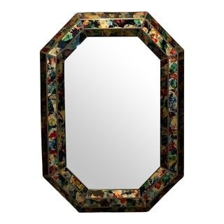 1970s Octagonal Beveled Eglomise Colorful Wall Mirror For Sale