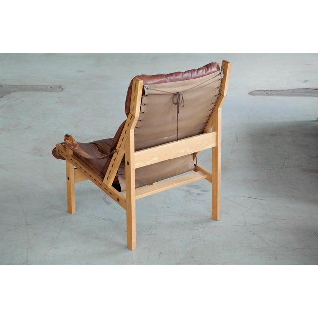 Brown Midcentury Easy Chair Model Hunter by Torbjørn Afdal for Bruksbo, Norway For Sale - Image 8 of 9