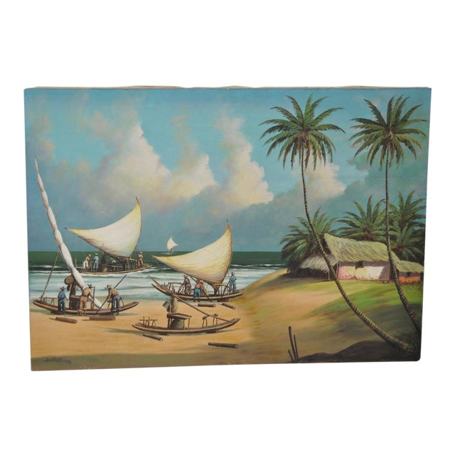Vintage Island Oil Painting by Balikian - Image 1 of 8