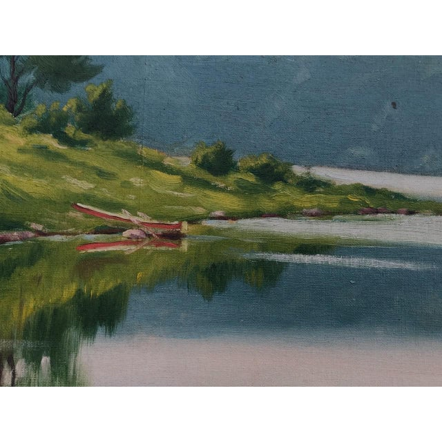 """Early 20th Century """"A Lake in the Berkshires"""" Landscape Oil Painting by J. Campbell Phillips, Framed For Sale - Image 4 of 10"""