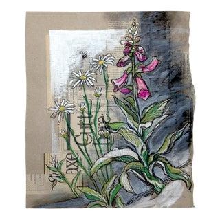 Kathleen Ney Roadside Flowers Mixed Media Drawing For Sale
