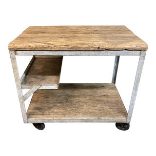 Mid 20th Century Industrial Cart Work Table For Sale
