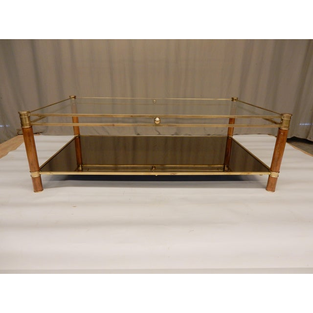 Mid-Century Modern Mid-Century Glass, Mirror, Brass and Wood Coffee Table For Sale - Image 3 of 9