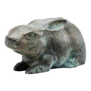 Late 20th Century Lawrence & Scott Verdigris Bronze Patinated Rabbit Figurine For Sale