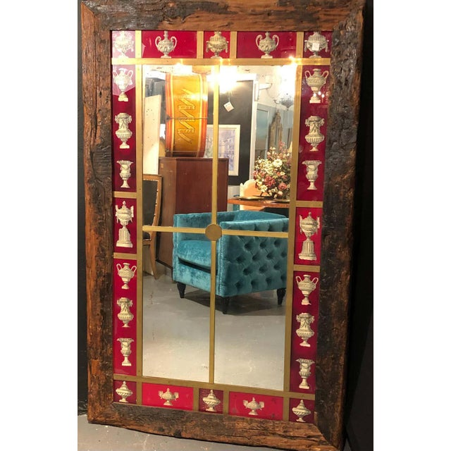 Rustic Italian Wall Mirror With Reverse Painted Classical Vases and Urns For Sale - Image 9 of 13