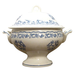 French Blue & White Transferware Tureen For Sale