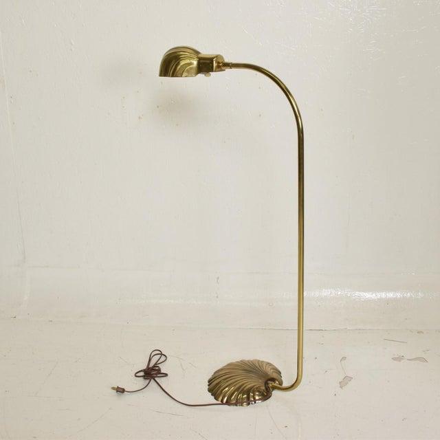 Mid Century Modern Pharmacy Reading Floor Lamp Brass Seashell Shape For Sale In San Diego - Image 6 of 11