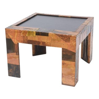 Mixed Metals Patchwork Series and Vermont Slate Top Table, Paul Evans For Sale