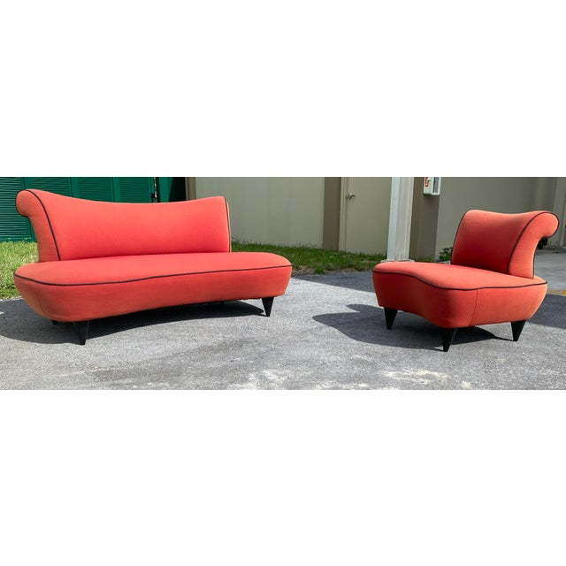 Salmon 1950s Cloud Sofa in the Style of Adrian Pearsall Peanut Shape - 2 Pieces For Sale - Image 8 of 12