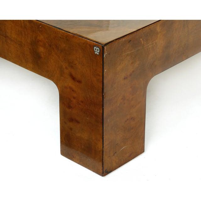 Modern Vintage Burlwood & Beveled Glass Coffee Table For Sale - Image 3 of 9