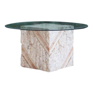 Postmodern Tesselated Stone Inlaid Travertine and Marble Coffee Table For Sale