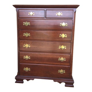 Colonial Furniture Solid Cherry 7 Drawer High Chest For Sale