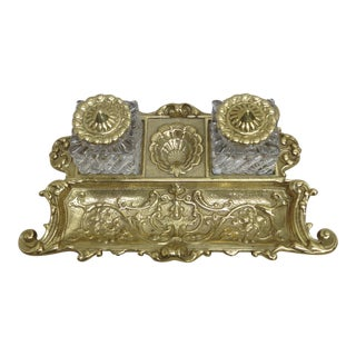 Brass Inkwell and Pen Stand For Sale