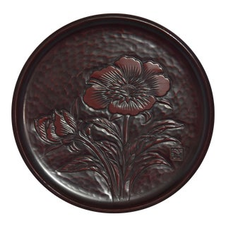 1980s Japanese Negoro Lacquer Hibiscus Round Tea Tray For Sale