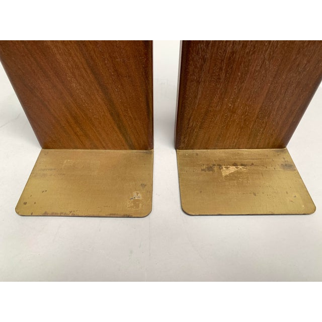 Metal Mid-Century Modern Walnut and Tile Bookends - a Pair For Sale - Image 7 of 10