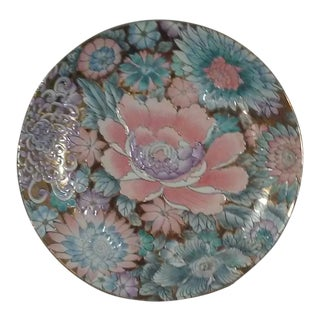 Chinoiserie Gilt Pastel Floral Decorative Charger Plate For Sale