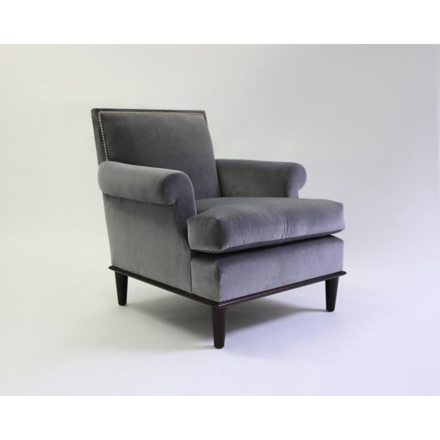 American Classical Club Chair With Nail Trimmed Square Back With Scroll Arms and Loose Seat Cushion For Sale - Image 3 of 8