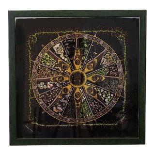 Hermès Vintage Aux Pays Des Epices Black Pocket Square, Framed For Sale