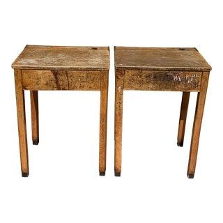Antique Wooden Children's Desks - a Pair For Sale